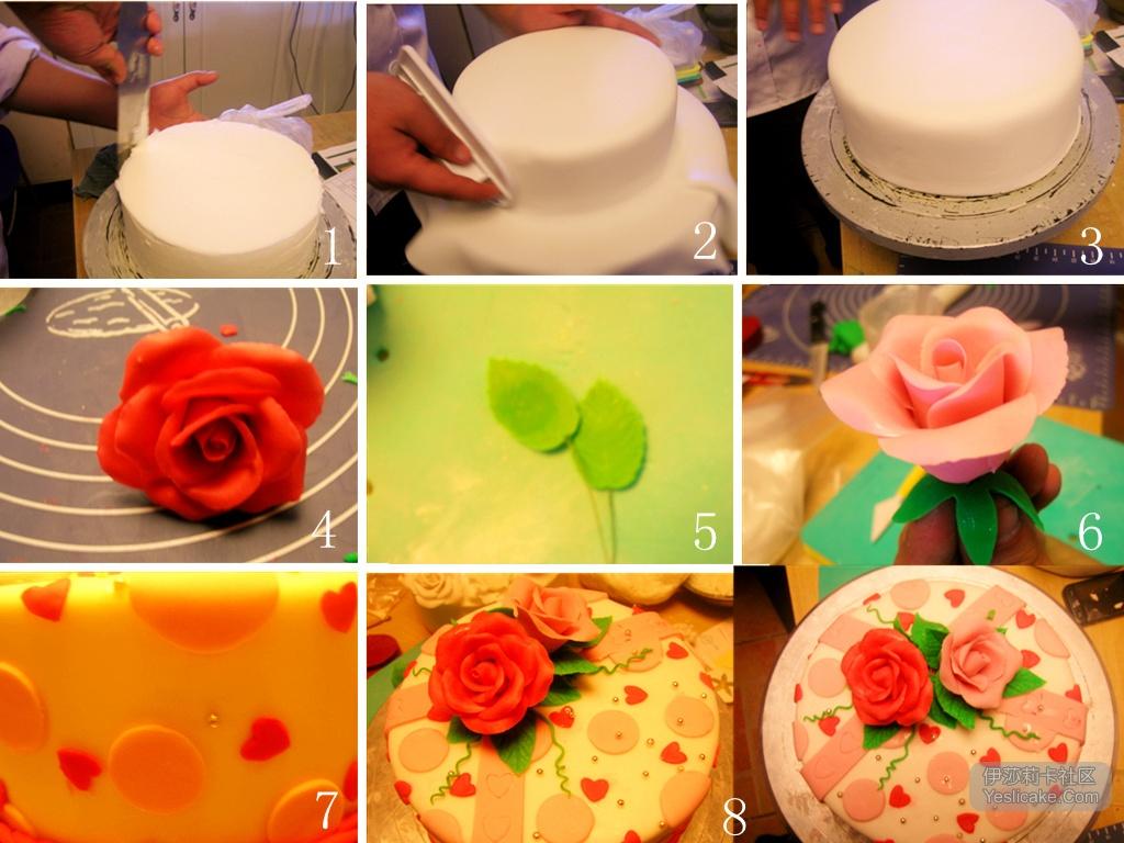 翻糖蛋糕现在越来越流行了。 所以就不自觉的想去学习一下制作方法。 如有兴趣的朋友,可以看看。 在翻糖蛋糕逐渐流行的今天,已经有很多的朋友对翻糖感兴趣了,今天我就详细的介绍一个翻糖蛋糕的制作过程。 首先是蛋糕坯子,像慕斯蛋糕,乳酪蛋糕。海绵蛋糕。重油蛋糕这些都可以做翻糖蛋糕的坯子,只要密度大的都可以,因为这样可以承受翻糖的糖皮。 坯子制作好以后,要往上面涂抹糖霜。这样可以将蛋糕坯子变得平整,无裂痕。提高糖皮覆盖的美观效果。 糖霜的做法: 1.