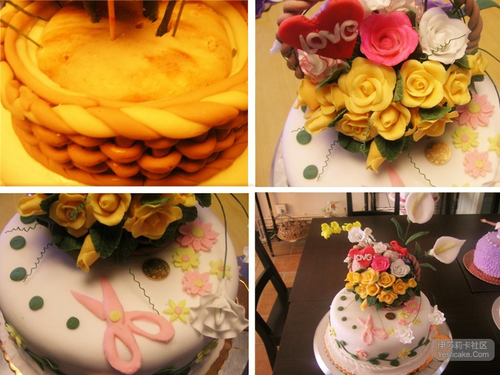 [转载][作品推荐] 花团锦簇,翻糖蛋糕花篮花之恋